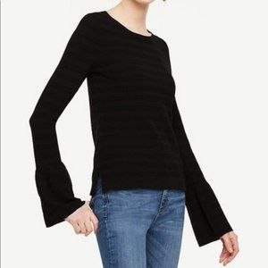 Ann Taylor Black Bell Sleeve Ribbed Sweater S
